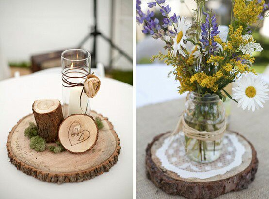 Wood base for centerpiece