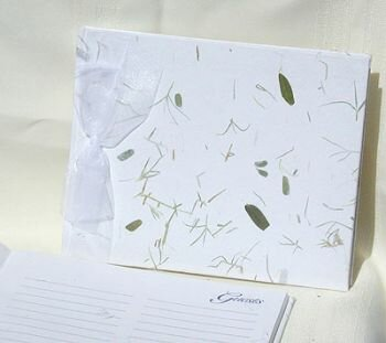 green wedding guest book